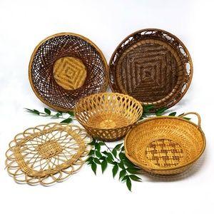 5 Piece Basket Decor Wall Set Woven Wicker Boho